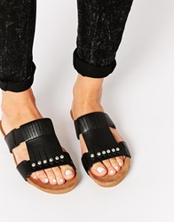 Asos Final Day Leather Fringed Mules Black