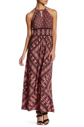London Times Grid Puzzle Keyhole Maxi Dress Petite Pink