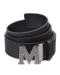 Mcm Men's Be Jeweled M Buckle Leather Belt Black Smokey