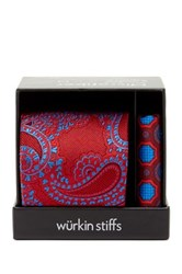 Wurkin Stiffs Paisley Tie And Pocket Square Set Red