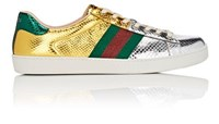 Gucci Men's New Ace Metallic Snakeskin Sneakers Silver
