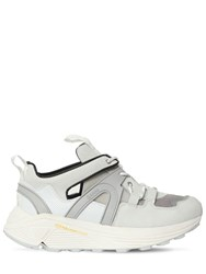 Ganni 30Mm Tech Leather And Nylon Sneakers White