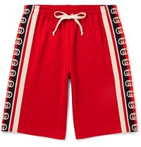 Gucci Webbing Trimmed Tech Jersey Shorts Red