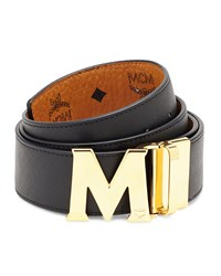Mcm Visetos Reversible M Buckle Monogram Belt Men's White