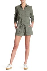 Rails Bryant Collared Long Sleeve Romper Green