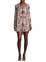 Haute Hippie Crisscross Neck Long Sleeve Printed Hi Lo Dress Pink Multi
