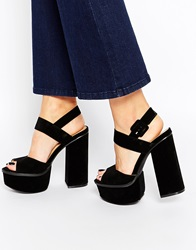 Truffle Collection Platform Ankle Strap Heeled Sandals Blackmicro