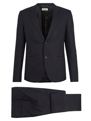 Saint Laurent Single Breasted Pinstriped Cotton Suit Navy