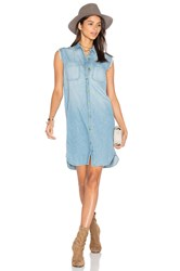 Sandrine Rose Sleeveless Button Up Dress Blue