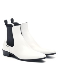 Prada Leather Ankle Boots White
