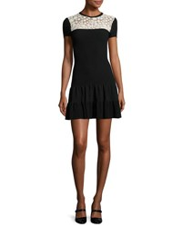 Red Valentino Short Sleeve Lace Yoke Fit And Flare Dress Nero Ecru Nero Ecru