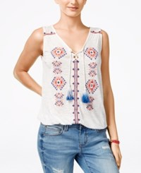 American Rag Juniors' Embroidered Bubble Hem Blouse Only At Macy's White Multi