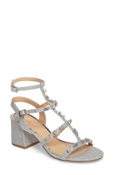Jewel Badgley Mischka Women's Ana Crystal Studded Block Heel Sandal Silver
