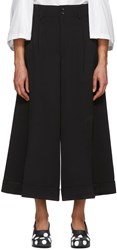 Comme Des Garcons Black Wool Gabardine Wide Leg Trousers