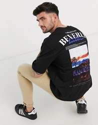 Topman Short Sleeve Jumper With Beverly Hills Print In Black