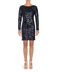 Jessica Simpson Long Sleeve Sequined Sheath Dress Navy