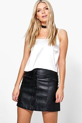 Boohoo Zip Detail Leather Look A Line Mini Skirt Black