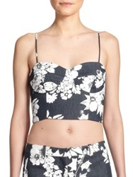 L'agence Floral Print Bustier Cropped Top Midnight White