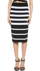 Dkny Striped Pull On Tube Skirt Black White
