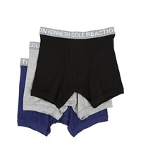 Kenneth Cole Reaction 3 Pack Boxer Brief Black Grey Heather Dark Blue Men's Underwear Multi