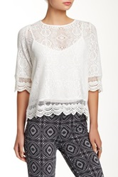 Dantelle 3 4 Length Sleeve Zip Back Lace Blouse Petite White