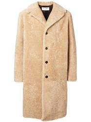 Saint Laurent Single Breasted Coat Nude And Neutrals