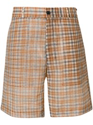 Fendi Plaid Tailored Shorts Brown