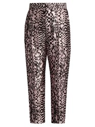 Haider Ackermann Madeleine High Rise Silk Blend Jacquard Trousers Pink Multi