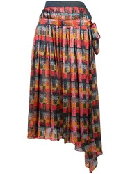 Adam By Adam Lippes Printed Wrap Skirt Red