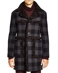 John Varvatos Collection Check Wool Cashmere Coat Black Multi