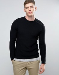 Jack And Jones Core Knitted Jumper With Shoulder Zip Detail Black
