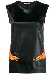 Paco Rabanne Flame Embroidered Top Black