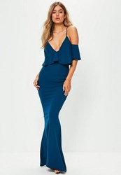 Missguided Blue Strappy Frill Fishtail Maxi Dress