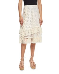 See By Chloe Mixed Stitched Tassel Skirt Off White Cream