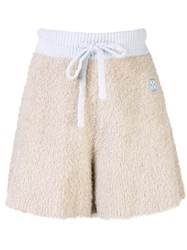 Off White Logo Patch Fluffy Knit Shorts Neutrals
