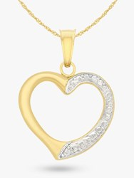 Ibb 9Ct Gold Textured Heart Pendant Necklace Gold