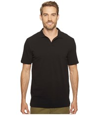 Mod O Doc Pescadero Short Sleeve Johnny Collar Polo Black Men's Short Sleeve Knit