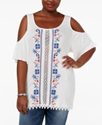 Eyeshadow Trendy Plus Size Embroidered Cold Shoulder Top White Sand