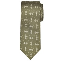 John Lewis And Co. Grid Print Silk Tie Khaki