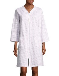 Miss Elaine Patterned Zip Front Robe White