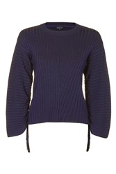Topshop Drawcord Sleeve Knitted Jumper Navy Blue