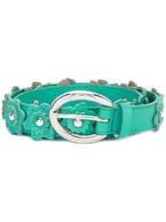 Orciani Flower Applique Belt Women Leather Brass 95 Green