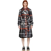 Marc Jacobs Black And Red Plaid Belted Trench Coat