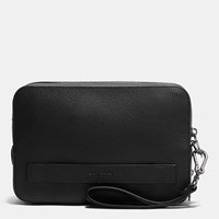Coach Pouchette In Pebble Leather Black