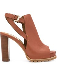 See By Chloa Chunky Heel Sandals Brown