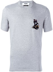 Msgm Cat Patch T Shirt Grey