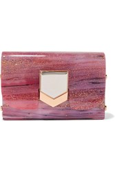 Jimmy Choo Lockett Glittered Acrylic Clutch Pink