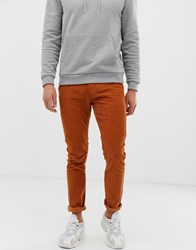 D Struct Slim Fit Cord Trousers Tan