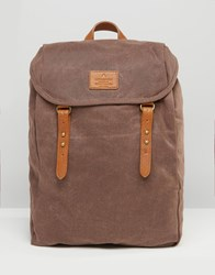 Asos Backpack In Brown Canvas Brown