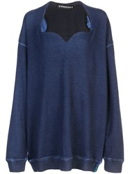 Y Project Sweetheart Neck Sweatshirt Blue